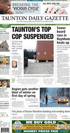 The front page of the Taunton Daily Gazette for Saturday, March 21, 2015.