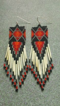 Native American Beaded Quill Earrings by prettyuniquedesigns2