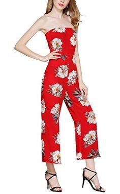 f8fe8ca692e Hibluco Women s Casual Strapless Off Shoulder Jumpsuits Floral Backless  Romper (Medium