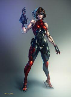 The Star Warrior Fantasy Female Warrior, Warrior Girl, Fantasy Girl, Female Art, Cyberpunk Rpg, Cyberpunk Girl, Cyberpunk Character, Female Character Design, Character Design Inspiration