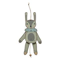 Toller Hasen-Hampelmann des dänischen Labels OYOY. Mit Schnur zum Ziehen. Größe: 37 cm