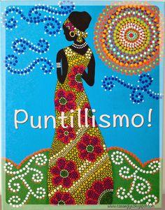 Casa Eglys: DIY: Cuadro en Puntillismo Rock Painting Patterns, Dot Art Painting, Stone Painting, Mandala Art, Mandala Painting, Dotted Drawings, African Art Paintings, Posca Art, African Theme
