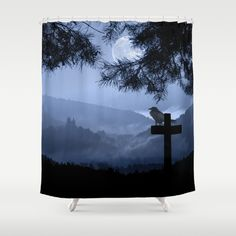 Castle in a foggy night Shower Curtain
