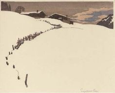 Engelbert Lap, Wooden cottages in the snow (1920s), woodcut printed in colours on thin Japanese paper