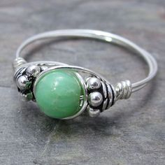 Chrysoprase Bali Sterling Silver Wire Wrapped Ring by KimsJewels, $12.00
