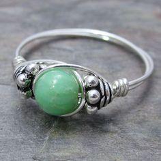 Chrysoprase Bali Silver Wire Wrap Ring ANY size $10