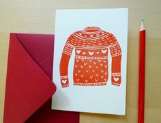hand printed heart sweater card by erindollar