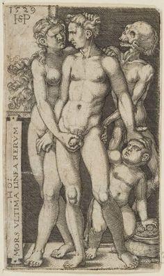 Hans Sebald BEHAM. Muerte y pareja indecente. En la leyenda, puede leerse la sentencia de Horacio «Mors ultima linea rerum», la muerte es el límite máximo de la vida.