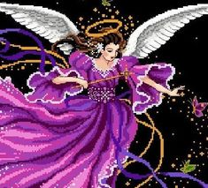 An angel of spring delivers her magic and blessings all night through Stitch Count: 248 width x 261 height Design size: 18w x 19h inches on