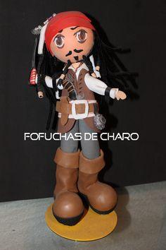 """Un loco Pirata del Caribe     A todos nos encanta Johnny Deep en toda la saga de películas de """"Piratas del Caribe"""" así que no es extraño que sea uno de los personajes de pelicula que he hecho ya más de una vez.  chicos cine época famosos fofuchas personajes personalizadas"""