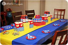 comic book diy party decor | THE DECORATIONS Additional decorations were red yellow and blue ...