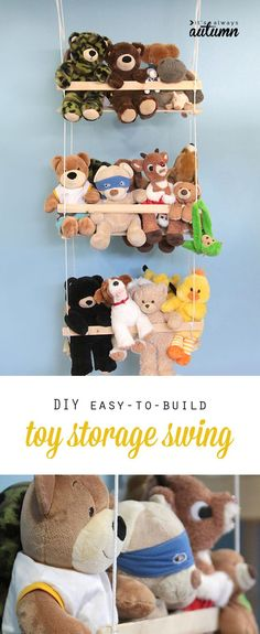 get those stuffed animals off the ground with this easy to build DIY hanging toy storage swing (kids diy toys) Doll Storage, Diy Toy Storage, Storage Ideas, Teddy Storage, Plastic Storage, Kids Storage, Playroom Storage, Storage Hacks, Storage Room