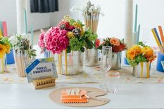 Paint Party Bridal Shower - Great paint can and paintbrush centerpieces