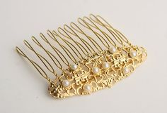 gold hair comb with pearls - bridal hair comb - hair accessorie - wedding hair jewelry - vintage inspired