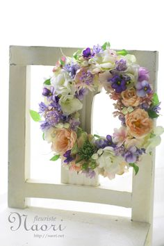 Wreath of rose and violet / ローズとビオラのリース Wedding Reception Flowers, Wedding Wreaths, Silk Flower Wreaths, Floral Wreath, Easter Wreaths, Holiday Wreaths, Cemetery Flowers, Flower Canvas, Summer Wreath