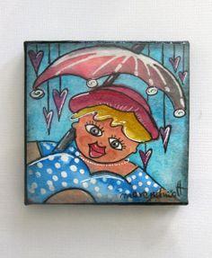 Aquarellmalerei - Mischtechnik - dicke Dame von Maren Schmidt auf DaWanda.com