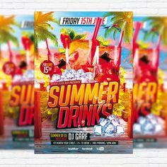Summer Drinks – Premium Flyer Template + Facebook Cover http://exclusiveflyer.net/product/summer-drinks-premium-flyer-template-facebook-cover/