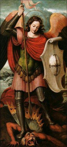 Con tu espada defiéndenos en la batalla, Arcángel San Miguel.   ¡Quién como Dios!