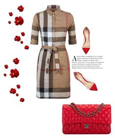 """""""red purse"""" by lovelucci ❤ liked on Polyvore featuring Burberry, Gianvito Rossi and Chanel"""