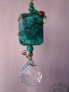 Crysocolla Feng shui crystal suncatcher, window hanging, garden art, feng shui cures, free shipping