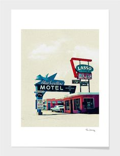 """Blue Swallow Motel"" - Numbered Art Print by Tim Jarosz on Curioos"