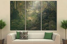 large canvas print,	surreal wall art,	forest wall art,	kids room wall art,	mystical wall art,	fantasy wall art,	woods canvas print,	forest canvas art,	green wall art,	wall art for home,	large wall art,	extra large wall art,	3 panel wall art