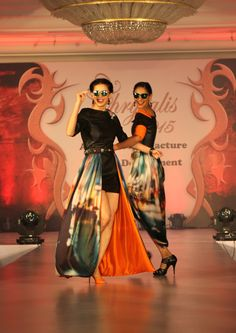 Sucheta Sharma James with a fellow model at SNDT-AMD's Chrysalis fashion show