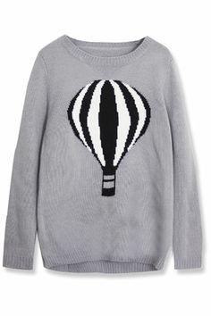 ROMWE   Asymmetric Ballon Knitted Grey Jumper, The Latest Street Fashion