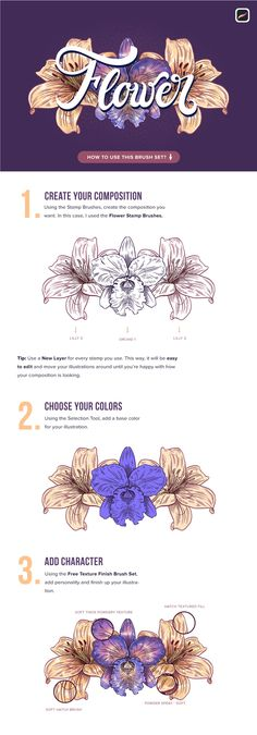 Different Flowers, Colorful Flowers, Affinity Designer, Flower Stamp, Letter Art, How Are You Feeling, Feeling Stressed, Art Tips, Brush Set