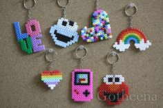 cute hama bead keyrings