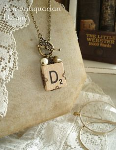SCRABBLE Letter Necklace  Letter D by RomantiquarianDesign on Etsy, $24.50