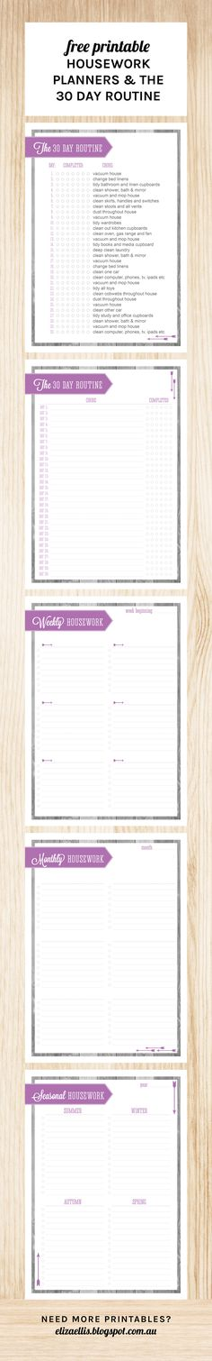 Free Printable Home Organizer - Weekly, Monthly and Seasonal Housework Planners and The 30 Day Housework Routine by Eliza Ellis
