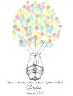 Hot Air Balloon Birthday Finger Print Guest Book, Graduation, Wedding, Party, Wall Art, Pen and Ink Print, Drawing, Custom Printable Design...