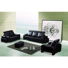 6 PC Black Bonded Leather Sofa Loveseat Chair Ottoman Set AE210-B