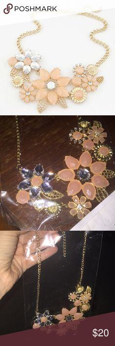 """Flower Necklace Beautiful necklace with flower pendants - brand new in package - material is resin and zinc alloy - gold toned - length is 18"""" - super cute and will flatter any outfit Jewelry Necklaces"""