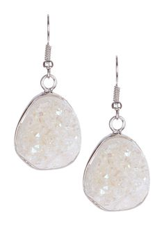 White Druzy Stone Earrings