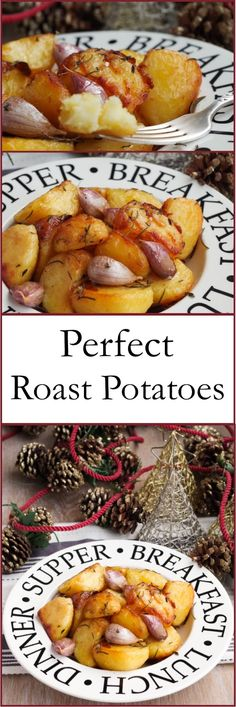 Perfect roast potatoes, fragranced with red onion, garlic, rosemary, thyme and sea salt Delicious Vegan Recipes, Healthy Recipes, Tasty, Perfect Roast Potatoes, Potato Side Dishes, Food Test, Seasonal Food, Sans Gluten, Vegetable Dishes