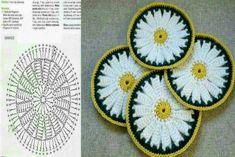 Coasters, or potholders, or trivets. Crochet Home, Crochet Motif, Crochet Flowers, Tea Coaster, Rubrics, Doilies, Pot Holders, Coasters, Kids Rugs