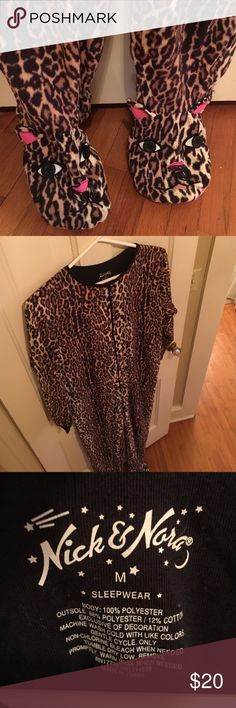 Leopard onesie pajamas with pockets Leopard onesie pajamas. Size M. Worn once, never machine dried.  Has pockets. Nick and Nora for Target Intimates & Sleepwear Pajamas