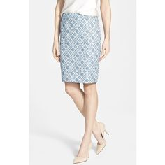 Halogen Welt Pocket Pencil Skirt ($59) found on Polyvore featuring skirts, petite, white knee length pencil skirt, print skirt, pattern pencil skirt, knee length pencil skirt and pencil skirt