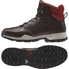 Adidas Rockstack Mid Leather Boot  Mens Dark Brown  Tribe Orange 85 *** Want to know more, click on the image.