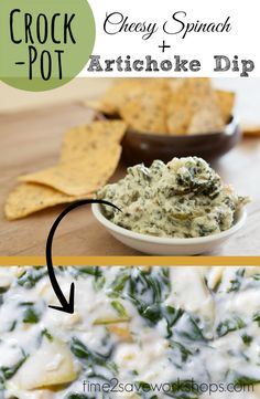 This Crockpot Cheesy Spinach Artichoke Dip is a real crowd pleaser - perfect for Football afternoons!