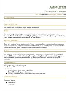 Pta Secretary Minutes Template  Google Search  Pta