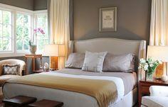 gray walls bedroom. Looks welcoming