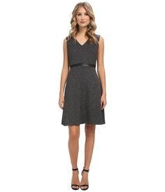 Marc New York by Andrew Marc Deep V-Neck Sleeveless Fit and Flare Dress MD4H9415
