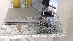 This is my absolute first DIY video! Enjoy, BESOS XOXO P. I forgot to record me addin. Glass Table, Diy Videos, Mosaic Glass, Aluminium Foil, Youtube, Furniture, Glass Table Top, Home Furnishings, Youtubers