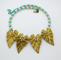 Vintage Miriam Haskell Brass Leaf, Glass Pearl Beaded Choker Necklace - Vintage Lane Jewelry - 1