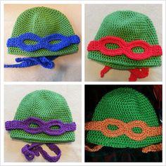 Crocheted Teenage Mutant Ninja Turtle Hat with wearable masks. Crochet Tutu, Crochet Kids Hats, Knitted Hats, Knit Crochet, Crochet Things, Teenage Ninja, Teenage Mutant Ninja Turtles, Ninja Turtle Hat, Gifts For Friends