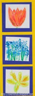 3 lentebloemen, 3 materialen  Benodigdheden: 1.drie velletjes wit tekenpapier 10 bij 10 cm 2.gekleurde vouwblaadjes 12 bij 12 cm 3.gekleurd fotokarton14 bij 38 cm 4.plakkaatverf 5.kwasten 6.wasco 7.kleurpotlood 8.tulpen, narcissen, blauw druifjes of afbeeldingen hiervan 9.lijm Leerlingen schetsen met potlood drie verschillende lentebloemen op drie velletjes tekenpapier van 10 bij 10 cm: blauw druifje, tulp en narcis. Bloemen inkleuren met wasco, plakkaatverf, kleurpotloden