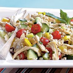 Dress up a Greek salad by adding barley to the cucumber, tomato, feta, and kalamata olives. The addition of chicken makes this a one-dish meal that's high in fiber and also a source of vitamins A and C. View Recipe: Greek Chicken and Barley Salad Greek Chicken Salad, Greek Chicken Recipes, Greek Recipes, Light Recipes, Barley Salad, Soup And Salad, Bulgur Salad, Orzo Salad, Grain Salad